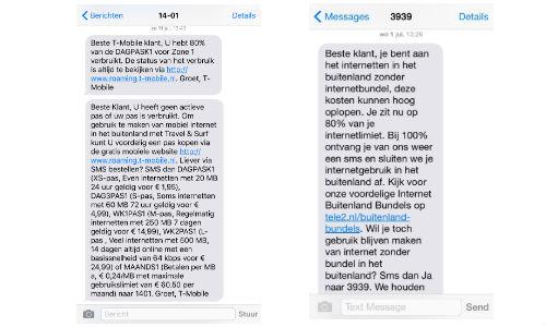 Voorbeeld waarschuwings sms provider